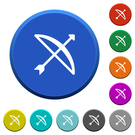 Bow with arrow round color beveled buttons with smooth surfaces and flat white icons. Illustration