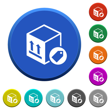 Package labeling round color beveled buttons with smooth surfaces and flat white icons.