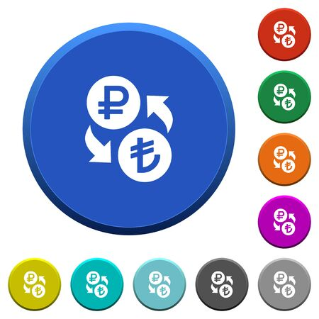 Ruble Lira money exchange round color beveled buttons with smooth surfaces and flat white icons.
