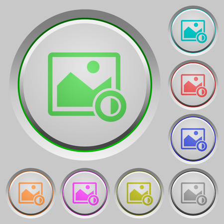 Adjust image contrast color icons on sunk push buttons.