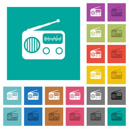 Colorful set of vintage retro radio.
