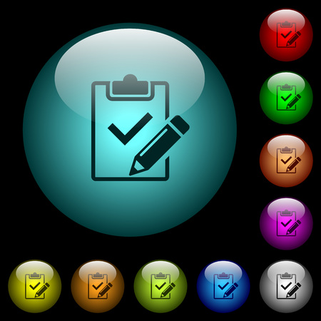 Fill out checklist icons in color illuminated spherical glass buttons on black background. Can be used to black or dark templates.