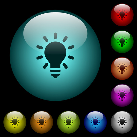 Lighting bulb icons in color illuminated spherical glass buttons on black background. Can be used to black or dark templates.