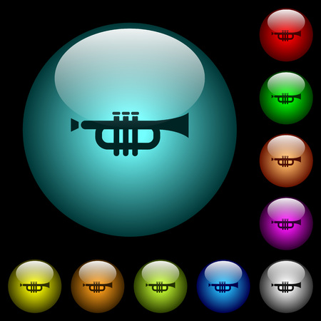 Trumpet icons in color illuminated spherical glass buttons on black background. Can be used to black or dark templates.