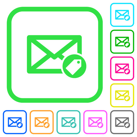 Colorful set of tagging mail. Illustration