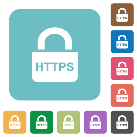 Secure https protocol white flat icons on color rounded square backgrounds.