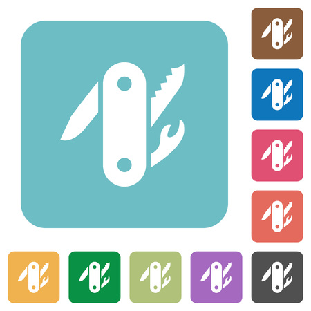 Army knife white flat icons on color rounded square backgrounds. Illustration