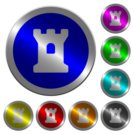 Bastion icons on round luminous coin-like color steel buttons