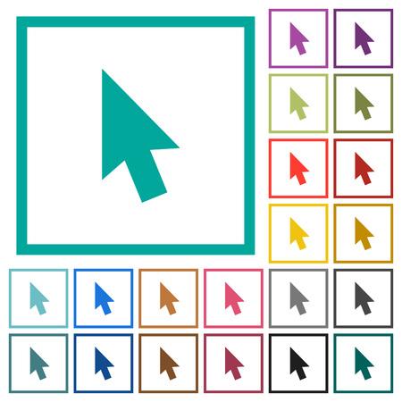 Muiscursor egale kleur pictogrammen met kwadrant frames op witte achtergrond