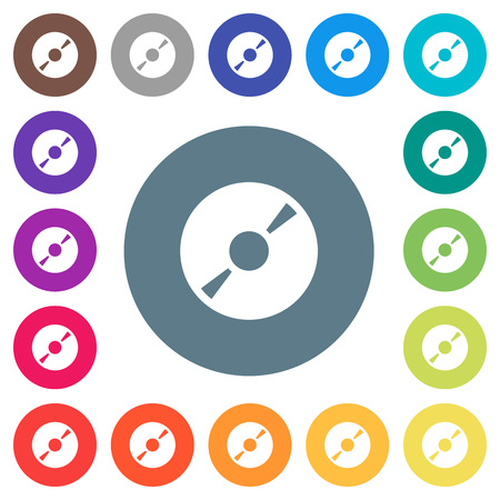 DVD disk flat white icons on round color backgrounds. 17 background color variations are included.