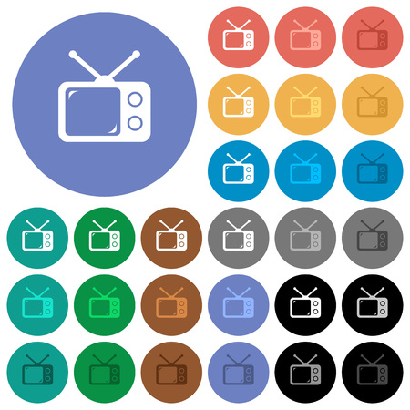 Vintage retro television multi colored flat icons on round backgrounds. Included white, light and dark icon variations for hover and active status effects, and bonus shades on black backgounds.