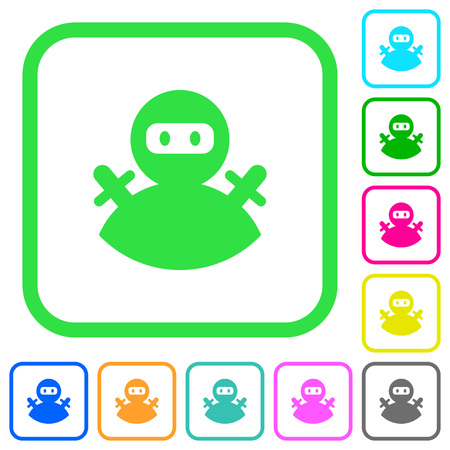 Ninja avatar vivid colored flat icons in curved borders on white background