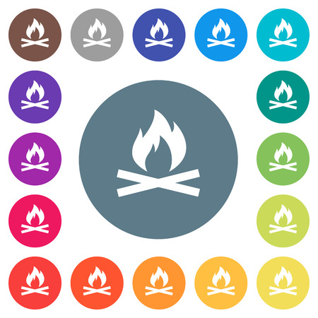 Camp fire flat white icons on round color backgrounds. 17 background color variations are included.