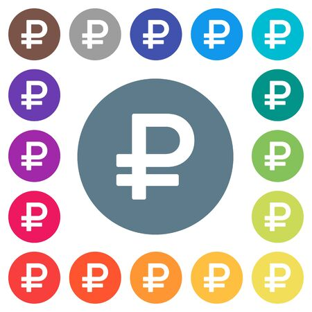 Ruble sign flat white icons on round color backgrounds. 17 background color variations are included.