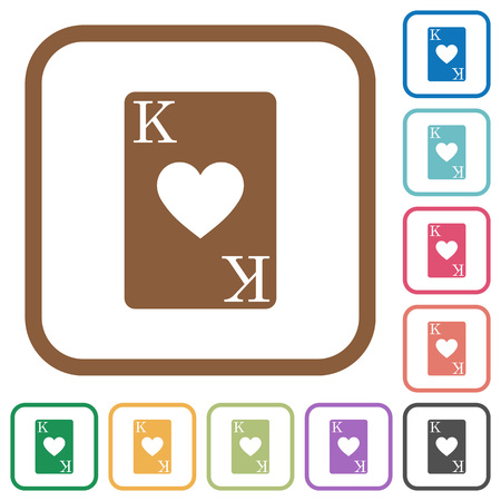 King of hearts card simple icons in color rounded square frames on white background Illustration