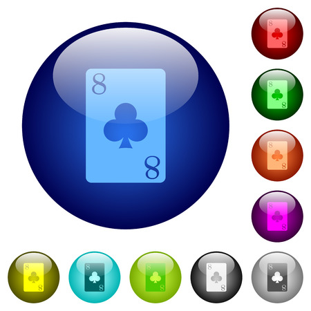 Eight of clubs card icons on round color glass buttons Illustration