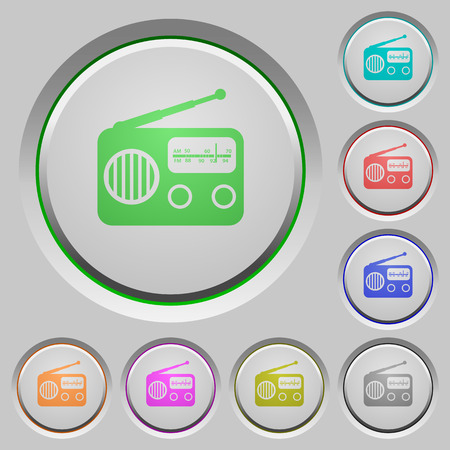 Vintage retro radio color icons on sunk push buttons