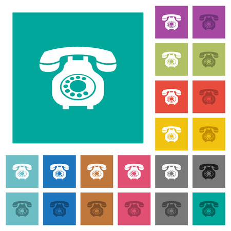 Vintage retro telephone multi colored flat icons on plain square backgrounds. Included white and darker icon variations for hover or active effects. Illustration