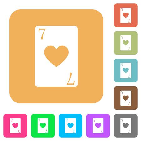 Sete dos corações cartão planas ícones em fundos de cores vivas quadrado arredondado. Foto de archivo - 93450465