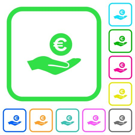 Euro earnings vivid colored flat icons in curved borders on white background