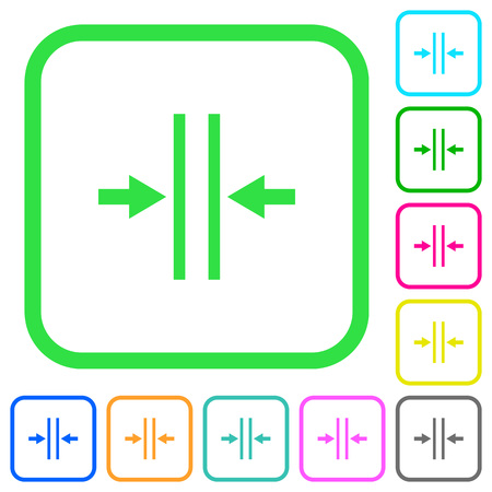 Adjust text column gutter vivid colored flat icons in curved borders on white background Ilustração