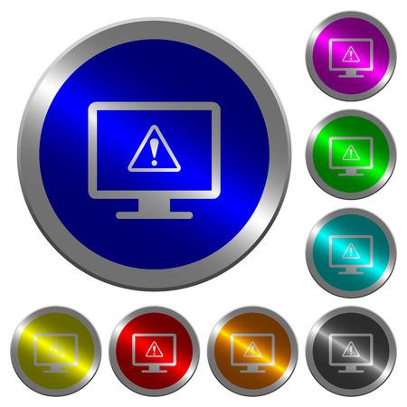 Zeigen Sie Warnsymbole auf runden, leuchtenden Knöpfen aus münzenähnlichem Stahl an