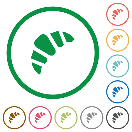 Bakery flat color icons in round outlines on white background