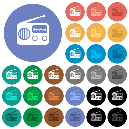Vintage retro radio multi colored flat icons on round backgrounds. Included white, light and dark icon variations for hover and active status effects, and bonus shades on black backgounds. Ilustração