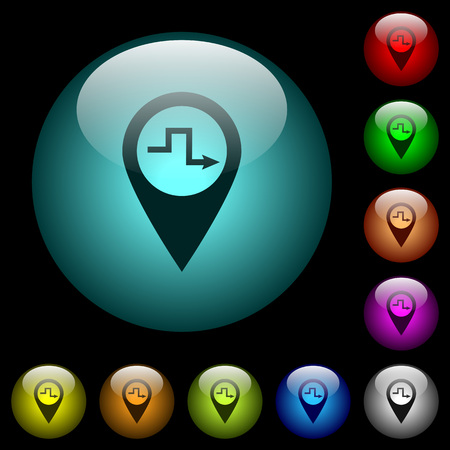 Route planning icons in color illuminated spherical glass buttons on black background. Can be used to black or dark templates