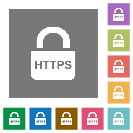 Secure https protocol flat icons on simple color square backgrounds Illustration