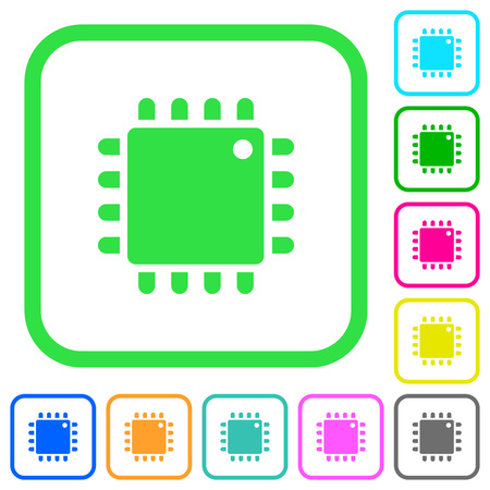 Computer processor vivid colored flat icons in curved borders on white background
