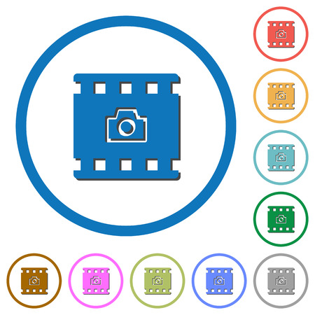 Grab image from movie flat color vector icons with shadows in round outlines on white background Çizim
