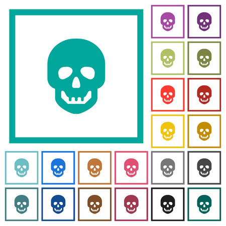 Human skull flat color icons with quadrant frames on white background Illustration