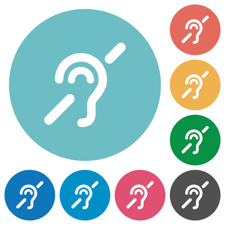 Hearing impaired flat white icons on round color backgrounds