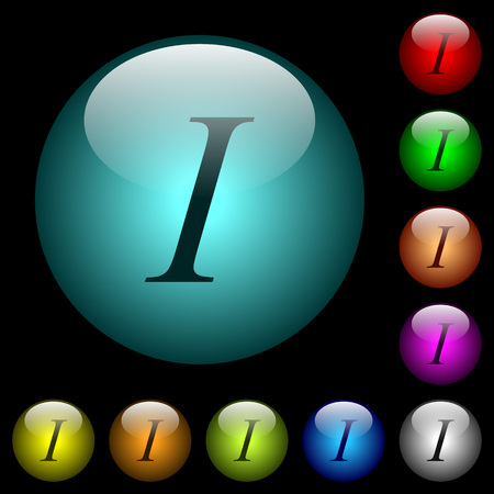 Italic font type icons in color illuminated spherical glass buttons on black background. Can be used to black or dark templates Illustration