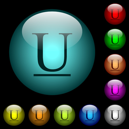 Underlined font type icons in color illuminated spherical glass buttons on black background. Can be used to black or dark templates