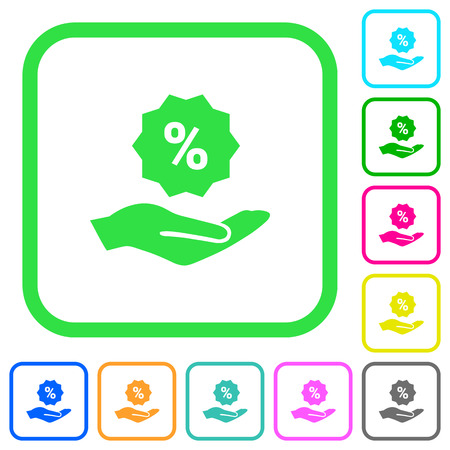 Discount services vivid colored flat icons in curved borders on white background. 矢量图像
