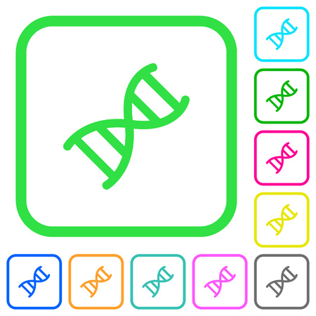 DNA molecule vivid colored flat icons in curved borders on white background.