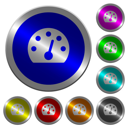 Dashboard icons on round luminous coin-like color steel buttons. Illustration