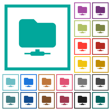 Network folder flat color icons with quadrant frames on white background.