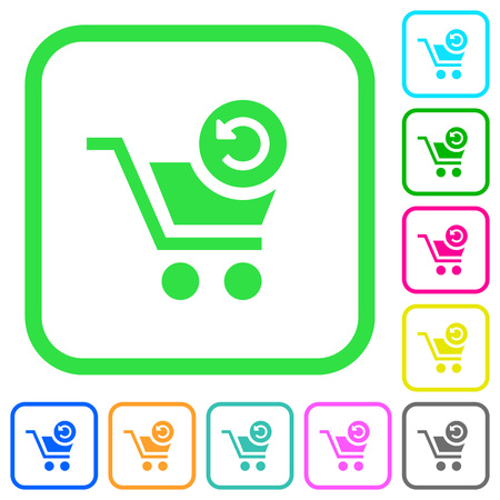 Undo last cart operation vivid colored flat icons in curved borders on white background