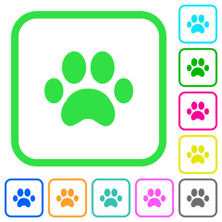 Vivid colored flat icons in curved borders on white background
