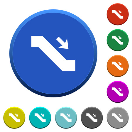 Escalator down sign round color beveled buttons with smooth surfaces and flat white icons Ilustrace