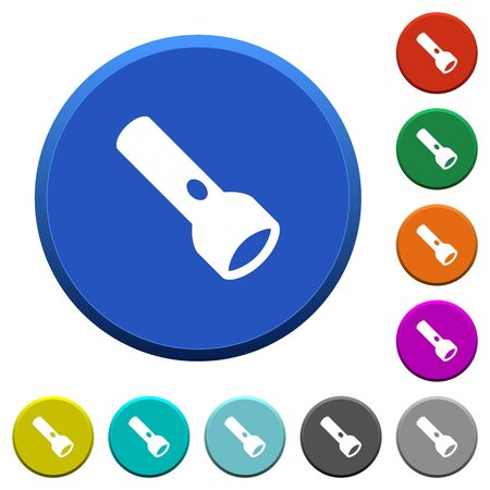 Flashlight round color beveled buttons with smooth surfaces and flat white icons