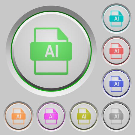 日焼けしたプッシュボタンのAIファイル形式のカラーアイコン