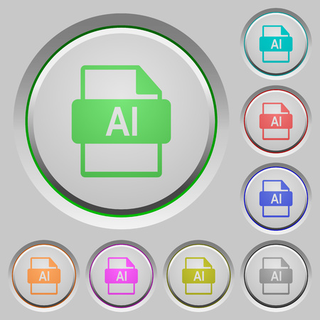 AI file format color icons on sunk push buttons