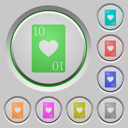 Ten of hearts card color icons on sunk push buttons