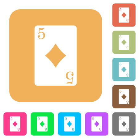 Five of diamonds card flat icons on rounded square vivid color backgrounds.