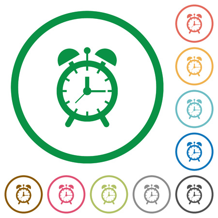 Alarm clock flat color icons in round outlines on white background