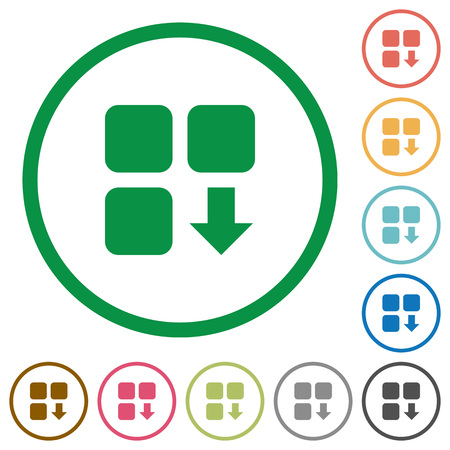 Move down component flat color icons in round outlines on white background Vectores